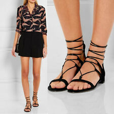 Ladies Suede Lace Up Gladiator Sandals Womens Ankle Flat Heels Open Toe Shoes