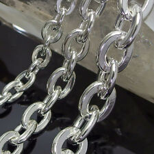 "Sterling Silver.925 Hammered Flat Cable Chain Necklace Oval Thick 20"" 24"" 28"""