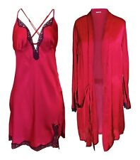 Rouge Gorge - Womens Stunning High Quality Deep Red Chemise & Matching Wrap