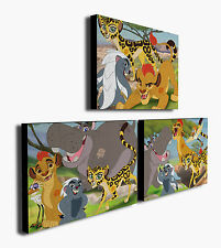 The Lion Guard King  - Set of 3 Mounted Canvas Prints Pictures - 2 sizes