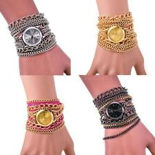 Fashion Women Watches Geneva Analog Quartz Metal Chain Bracelet Wrist Watch MKLG