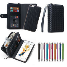 For iPhone & Samsung Magnetic PU Leather Zipper Wallet Card Slot Flip Case Cover