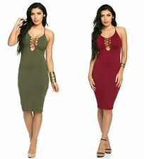 Sexy Criss Cross Front Strap & Strappy Cross Back Bodycon Dress OLIVE,BURGUNDY