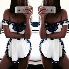 Sexy Ladies Off Shoulder Lace Up Rompers Short Jumpsuit Overalls Clubwear