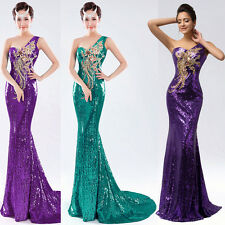 One Shoulder Long Sequins Pageant Masquerade Ball Gown Evening Prom Party Dress