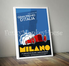 Vintage car poster racing motorsport automobile- A4 - Italian Grand Prix 1937