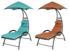 Deck Chair Chaise Lounge Patio Pool Garden Furniture Outdoor Yard Brown Blue