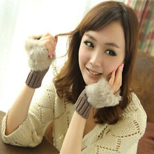 Women Ladies Fingerless Faux Fur Wrist Knitted Wool Mitten Gloves Winter Warm TI