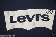 Levi's T Shirt Levi Strauss & Co Distressed Batwing 100% Cotton  Navy  Levis
