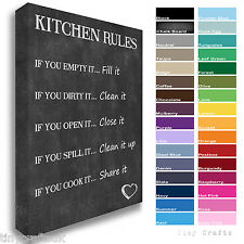 KITCHEN RULES - Family Quote - Canvas Print Picture Wall Art Plaque