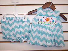 Infant Girls Mom & Me Smocked Aqua Dress W/Bloomers Size 6 Months - 24 Months