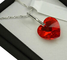 925 Silver Necklace made with Swarovski Crystals *LIGHT SIAM AB* Heart