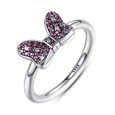 Authentic 925 Sterling Silver Rings w Pink&Clear CZ Stones Accents for Girls