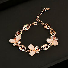 Charm Opal Butterfly Bracelets Bangle Chain for Women 18K Rose Gold Plated SL195