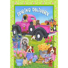 Spring Delivery Dogs Decorative Flag
