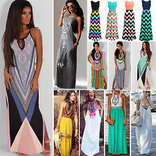 Summer Womens Sleeveless Boho Long Maxi Dress Sexy Evening Party Beach Sundress