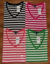 NEW NWT Polo Ralph Lauren Womens PONY LOGO V-Neck Stripe T-Shirt Choice 4 Colors