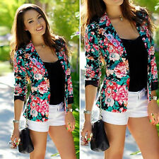 Women Fashion Floral Flower Slim Casual Business Blazer Suit Jacket Coat Outwear