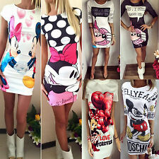 Women Mickey & Minnie Mouse Printed Evening Party Cocktail Bodycon Mini Dresses
