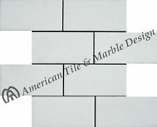 "Thassos White 3""x6"" Subway Marble Pol. Mosaic.($13.50 Per sq. ft. / 8 Pcs)"