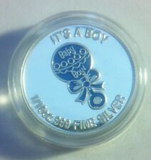 "NEW 2013 ""It's a Boy"" 1/10th OZ 999.0 Solid Silver Bullion Coin (Colored Blue)"