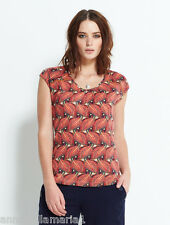 NOMADS fair trade ORGANIC COTTON hippy ETHNIC leaf PRINT T-SHIRT top RED LC44
