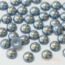 Fantasy Dark Silver Grey AB (2mm - 10mm) Flatback Half Pearl Round Nail Craft