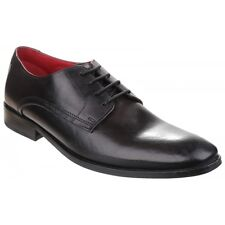 Base London SUSSEX Mens Washed Soft Leather Derby Smart Casual Office Shoes Grey