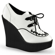 Demonia Creeper-302 White Wedge Shoes - Gothic,Goth,Punk,White,Wedges,Buckle