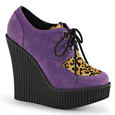 Demonia Creeper-304 Purple & Leopard Vegan Suede Wedge Shoes - Gothic,Goth,Punk,