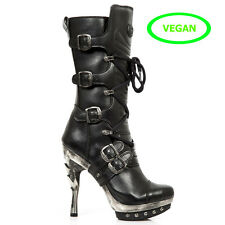 New Rock Punk Vegan Leather Heel Boots - Black - PUNK001-VS1 - Gothic,Goth,Leath