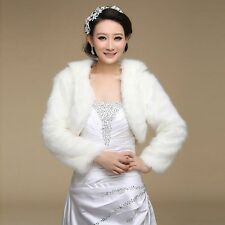New Black/Ivory / White Long Sleeve Faux Fur Wrap Shrug Bolero Coat Bridal Shawl