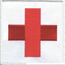 "Red Cross Medic First Aid IFAK on White Patch Large 4"" X 4"" Sew On or w/ Velcro!"