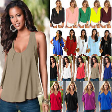 New Sexy Women Summer Fashion Chiffon Loose Blouse Scoop/V Neck Oversize Tee Top
