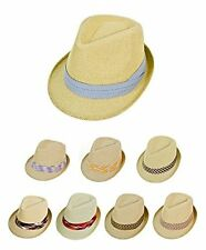 Men's Spring Summer Natural Paper & Polyester Fedora Hats (H95-Fedoras)