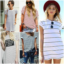 Summer Women Fashion Striped Casual Crew Neck T Shirt Sexy Short Sleeve Long Top
