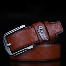 Men's Genuine Leather Waistband Casual Dress Leather Pin Metal Buckle Belt
