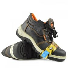 MENS SAFETY LEATHER TRAINERS SHOES BOOTS WORK STEEL TOE CAP BLACK ANKLE