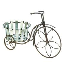 Plant Stand Tricycle 3 Wheel Wrought Iron Metal Wood Planter