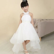New Flower Girl Halter Dress Kids Princess Pageant Wedding Party Prom Ball Gown