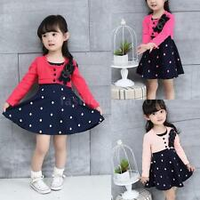 Sundress Kids One-piece Princess Dress Baby Girls Long Sleeve Tutu Dress I3I5