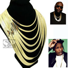 """Hip Hop 14K Stamped Herringbone Gold PT 4mm to 14mm, 20"""" 24"""" 30"""" Chain Necklace"""