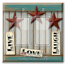 Light Switch Plate Cover BARN STAR LIVE LOVE LAUGH w/ Rocker Switch  Outlet