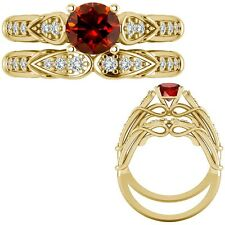 1 Ct Red Diamond Designer Wedding Promise Ladies Ring + Band 14K Yellow Gold
