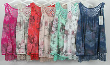 New Italian Ladies Lagenlook Quirky Lace Back Summer Sleeveless Floral Vest Top