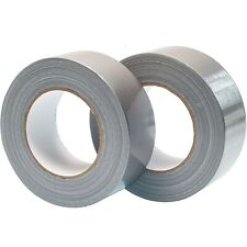 """Big Strong Duck Duct Gaffa Gaffer Waterproof Cloth Tape Silver 50mm 2""""x50m 2 3 6"""