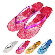 2016 Womens Summer Jelly Beach Thong Flip Flops Sandals Slippers Mules Flat Shoe
