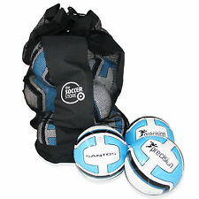 10 x WHITE/BLUE PRECISION SANTOS TRAINING FOOTBALL + BALL BAG - SIZES 3, 4 & 5