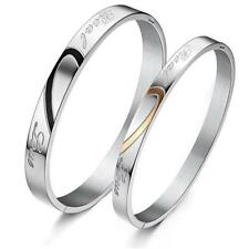 Engraved Heart Real Love Bracelet Titanium Stainless Steel Bangle for Couple BH
