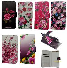 Floral Flower Pattern Leather Case Stand Cover for iPhone Samsung Mobile Phones